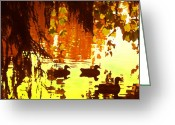 California Landscapes Greeting Cards - Ducks on Lake Red Light Greeting Card by Amy Vangsgard