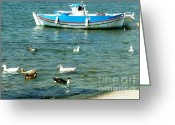 Boat Greeting Cards - Ducks on Vacation in Greece Greeting Card by Therese Alcorn