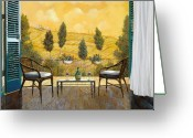 Chairs Greeting Cards - due bicchieri di Chianti Greeting Card by Guido Borelli