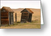 Abandoned Houses Greeting Cards - Dueling Outhouses Greeting Card by Grant Groberg