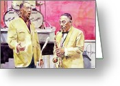 Orchestra Greeting Cards - Duke Ellington and Johnny Hodges Greeting Card by David Lloyd Glover