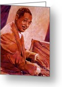 Big Band Greeting Cards - Duke Ellington Greeting Card by David Lloyd Glover