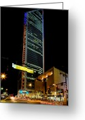 Avenue Of The Arts Greeting Cards - Duke Energy tower at night Greeting Card by Patrick Schneider 