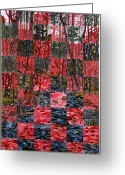Landscape Glass Art Greeting Cards - Duke Forest Greeting Card by Micah Mullen