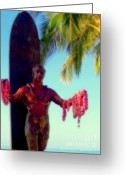 Hawaiian Art Photo Greeting Cards - Duke Kahanamoku Greeting Card by Karen Wiles