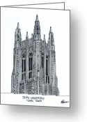 College Buildings Images Greeting Cards - Duke University Chapel Tower Greeting Card by Frederic Kohli