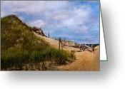 Sand Fences Photo Greeting Cards - Dune Greeting Card by Bill  Wakeley