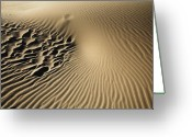 Oceano Greeting Cards - Dunes Footprints Greeting Card by Sharon Foster