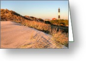 Light Houses Greeting Cards - Dunes of Fire Island Greeting Card by JC Findley