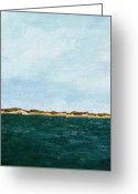 Rough-seas Greeting Cards - Dunes of Lake Michigan with Big Sky Greeting Card by Michelle Calkins
