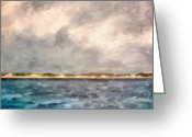 Grey Clouds Digital Art Greeting Cards - Dunes of Lake Michigan with Rough Seas Greeting Card by Michelle Calkins