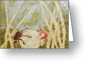 Insect Ceramics Greeting Cards - Dung Beetle with Woman with Red Dress Greeting Card by Samantha Henneke