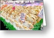 Pike Seafood Market Greeting Cards - DUNGENESS CRAB whole cooked crab Pikes Place Public Market Seattle Greeting Card by Andy Smy