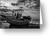 Wreck Greeting Cards - Dungeness In Mono Greeting Card by Meirion Matthias