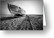 Ship-wreck Greeting Cards - Dungeness Ship Wreck II Greeting Card by Nina Papiorek