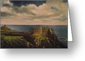 Northern Irish Art Greeting Cards - Dunluce Castle Greeting Card by Robert Gary Chestnutt