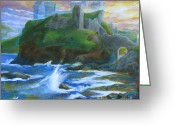 Mystical Drawings Greeting Cards - Dunscaith Castle - Shadows of the past Greeting Card by Samantha Geernaert