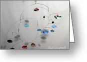 Kinetic Sculpture Greeting Cards - Duplicity Style Kinetic Mobile Sculpture Greeting Card by Carolyn Weir
