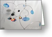 Kinetic Sculpture Greeting Cards - Duplicity Style Kinetic Mobile Watercolor Sculpture Greeting Card by Carolyn Weir
