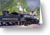 Old San Juan Mixed Media Greeting Cards - Durango Silverton Narrow Gauge Train Greeting Card by Renee Skiba