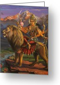 Lion Painting Greeting Cards - Durga Ma Greeting Card by Vrindavan Das