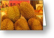 Durian Greeting Cards - Durian Fruit Greeting Card by Alfred Ng