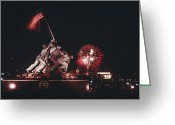 Lincoln Memorial Photo Greeting Cards - During Independence Day Celebrations Greeting Card by Joseph H. Bailey