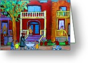 Montreal Street Life Greeting Cards - Durocher Street Montreal Greeting Card by Carole Spandau