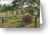 Shepherdess Painting Greeting Cards - Dusk at Eragny Greeting Card by Camille Pissarro