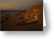 African Heritage Greeting Cards - Dusk Descends On Abu Simbel With Lake Greeting Card by O. Louis Mazzatenta