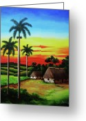 Dominica Alcantara Greeting Cards - Dusk in a Cuban Countryside Greeting Card by Dominica Alcantara