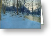 Dusk Pastels Greeting Cards - Dusk in the Woods Greeting Card by Bernadette Kazmarski