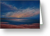 Dusk Pastels Greeting Cards - Dusk Over Distant Ocean City Greeting Card by Deb Spinella