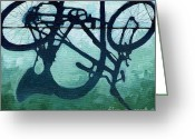 Wheels Greeting Cards - Dusk Shadows - bicycle art Greeting Card by Linda Apple