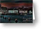 Places In Venice.venecia.venezia.venice Greeting Cards - Dusk Venice Italy Greeting Card by Tom Prendergast