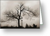 Pensive Greeting Cards - Dusk Winter Tree Silhouette with Fire Tower Greeting Card by John Stephens