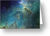 H Ii Regions Greeting Cards - Dust Columns As Part Of The Melotte 15 Greeting Card by Don Goldman