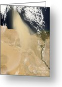Nile River Greeting Cards - Dust Plume Off Coast Of Egypt Greeting Card by Nasa