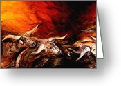 Longhorns Greeting Cards - Dust Storm Greeting Card by J Vincent Scarpace
