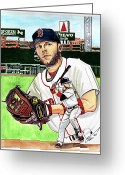 Red Sox Drawings Greeting Cards - Dustin Pedroia Greeting Card by Dave Olsen