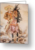 Charro Greeting Cards - Dusty Greeting Card by Dee Elliott