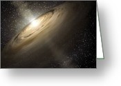 Accretion Discs Greeting Cards - Dusty Disks Circling A Star Greeting Card by Stocktrek Images
