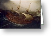 Warship Greeting Cards - Dutch Battleship in a Storm Greeting Card by Hendrick Cornelisz Vroom