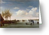Fall River Scenes Painting Greeting Cards - Dutch landscape with Skaters Greeting Card by Salomon van Ruysdael