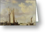 Sailing Ships Greeting Cards - Dutch Vessels Inshore and Men Bathing Greeting Card by Willem van de Velde