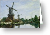 River Banks Greeting Cards - Dutch Windmills Greeting Card by Eugene Louis Boudin