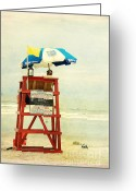 Beach Scene Greeting Cards - Duty Time Greeting Card by Susanne Van Hulst