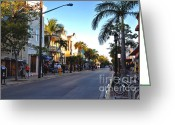 Florida House Greeting Cards - Duval Street in Key West Greeting Card by Susanne Van Hulst