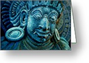 God Reliefs Greeting Cards - Dwaarapalaka Gatekeeper Greeting Card by Murali
