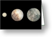 Scale Digital Art Greeting Cards - Dwarf Planets Ceres, Pluto, And Eris Greeting Card by Walter Myers